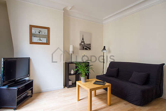 Very quiet living room furnished with 1 sofabed(s) of 140cm, tv, hi-fi stereo, 1 armchair(s)