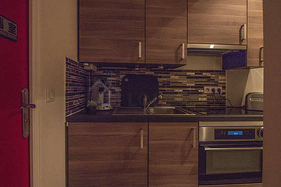 Beautiful kitchen of 0m² with woodenfloor