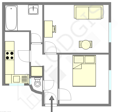 Apartment Paris 1° - Interactive plan