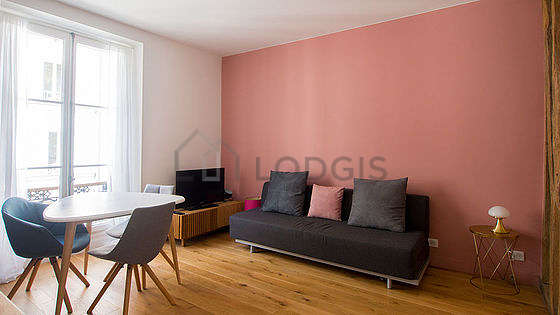 Very quiet living room furnished with 1 sofabed(s) of 120cm, tv, cupboard, 2 chair(s)