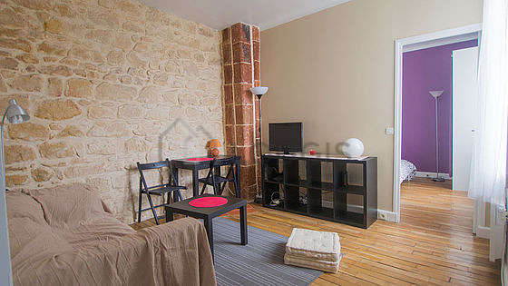 Very quiet living room furnished with 1 sofabed(s) of 140cm, tv, dvd player, 2 chair(s)