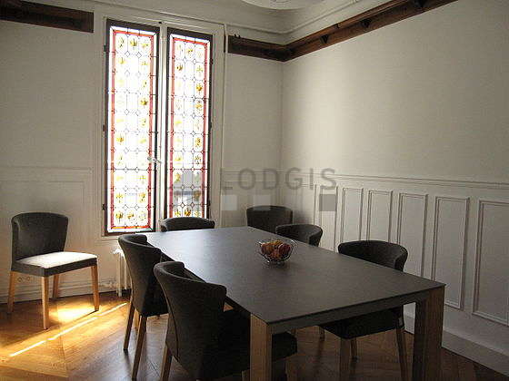Beautiful dining room with woodenfloor