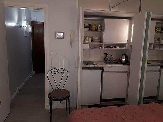 Kitchen with the carpetingfloor