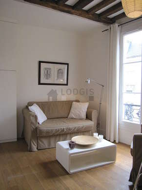 Quiet living room furnished with 1 sofabed(s) of 120cm, 1 armchair(s)