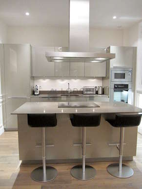 Kitchen where you can have dinner for 3 person(s) equipped with dishwasher, hob, extractor hood, crockery