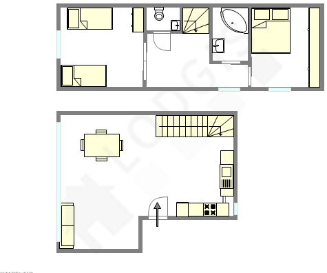 Duplex Paris 18° - Interactive plan
