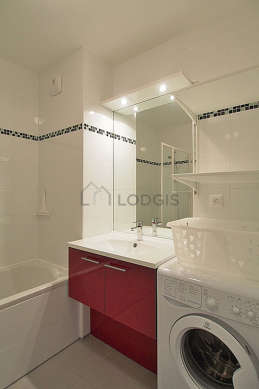 Bathroom equipped with washing machine, bath tub, shower in bath tub