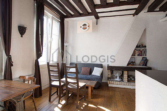 Very bright living room furnished with wardrobe, cupboard, 4 chair(s)