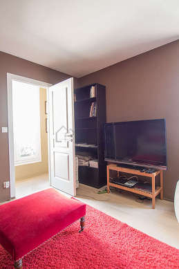 Very beautiful office with woodenfloor furnished with tv