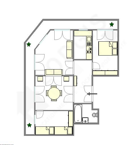 Квартира Париж 6° - Интерактивный план
