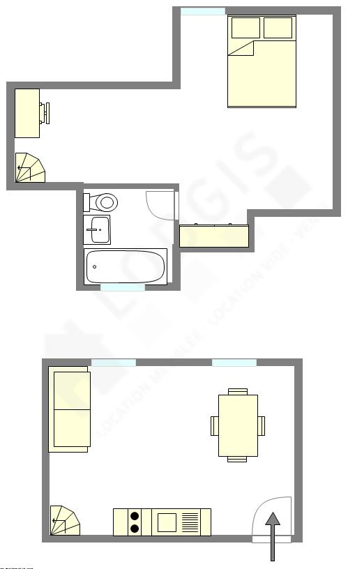 双层公寓 巴黎13区 - 平面图