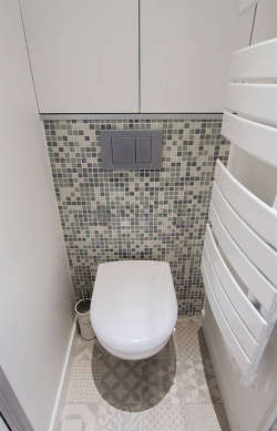 Bathroom equipped with cupboard