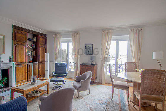 Quiet living room furnished with 1 sofabed(s) of 140cm, tv, 3 armchair(s), 5 chair(s)