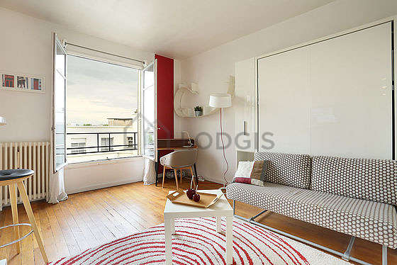 Very quiet living room furnished with 1 murphy bed(s) of 140cm, tv, hi-fi stereo, 1 armchair(s)