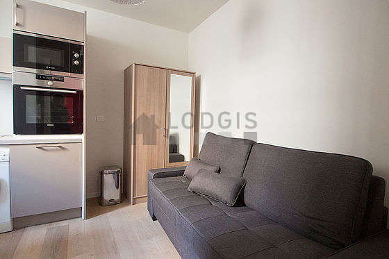Very quiet living room furnished with 1 bed(s) of 80cm, tv, closet