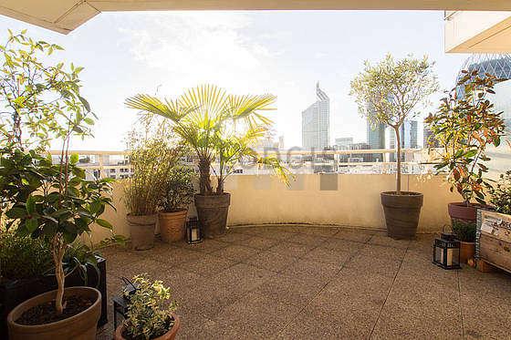Very quiet and very bright balcony with pavingfloor