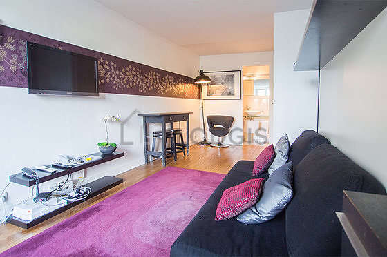 Quiet living room furnished with 1 bed(s) of 160cm, tv, 1 armchair(s)