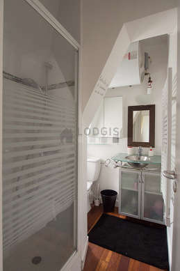 Beautiful and bright bathroom with woodenfloor