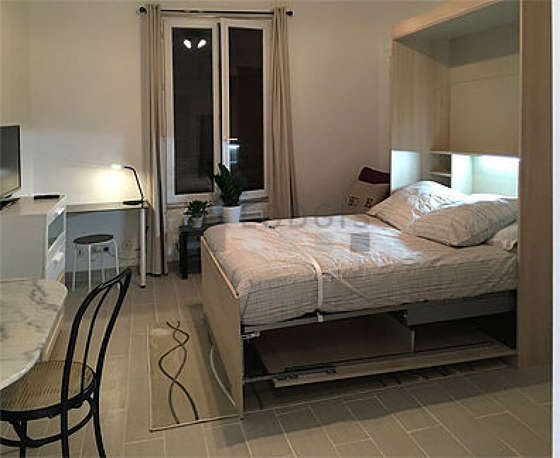 Very quiet living room furnished with 1 murphy bed(s) of 140cm, tv, storage space, cupboard