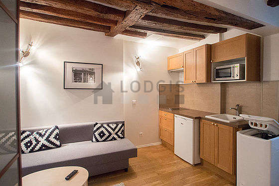 Very quiet living room furnished with 1 sofabed(s) of 140cm, coffee table, wardrobe, cupboard