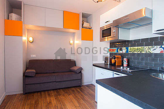 Very quiet living room furnished with 1 sofabed(s) of 140cm, tv, hi-fi stereo, cupboard