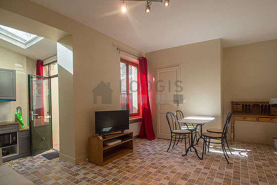 Very quiet living room furnished with 1 sofabed(s) of 140cm, tv, wardrobe