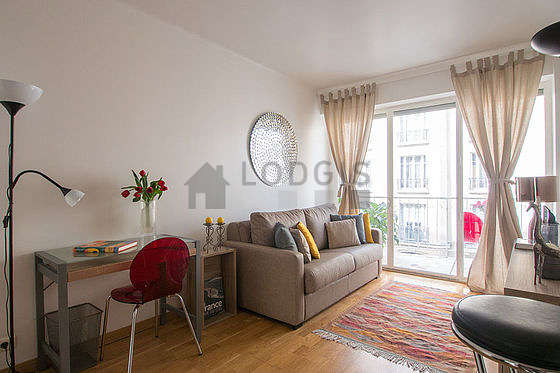 Very quiet living room furnished with 1 sofabed(s) of 140cm, tv, wardrobe, cupboard