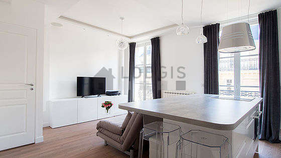 Very quiet living room furnished with 1 sofabed(s) of 160cm, tv, hi-fi stereo, closet