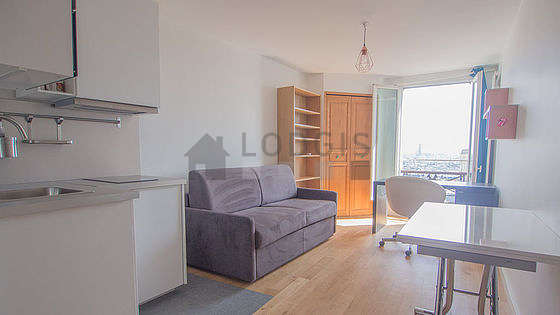 Very quiet living room furnished with 1 sofabed(s) of 140cm, dining table, wardrobe, cupboard