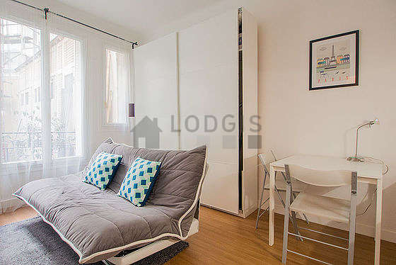 Very quiet living room furnished with 1 sofabed(s) of 120cm, tv, wardrobe