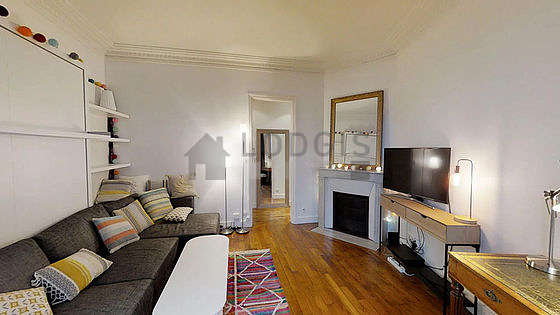 Very quiet living room furnished with 1 murphy bed(s) of 160cm, tv, wardrobe, cupboard