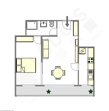 公寓 巴黎20区 - 平面图