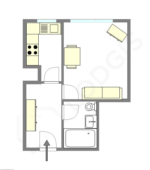 公寓 巴黎16区 - 平面图
