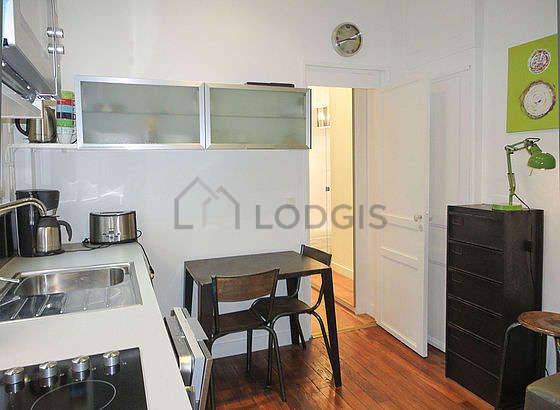 Kitchen where you can have dinner for 2 person(s) equipped with washing machine, refrigerator