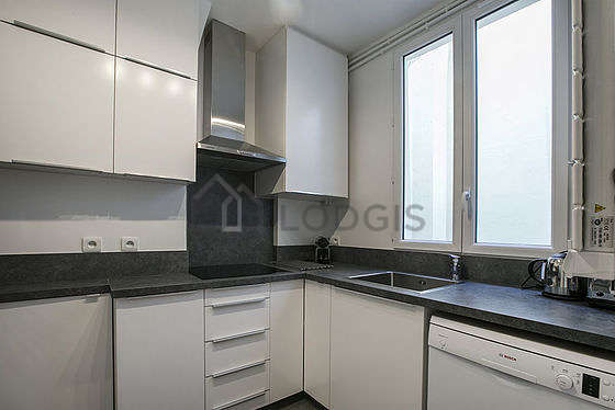 Kitchen equipped with freezer, extractor hood