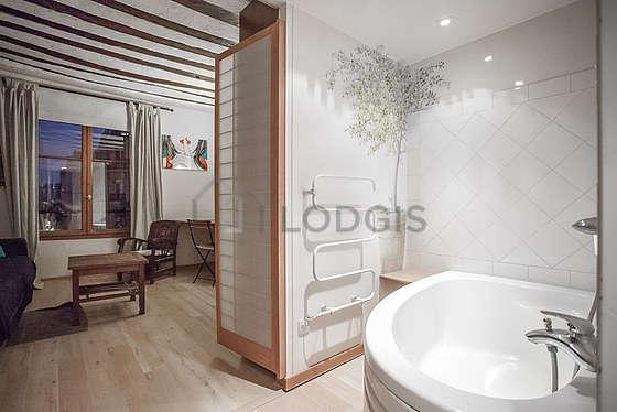 Bathroom with woodenfloor