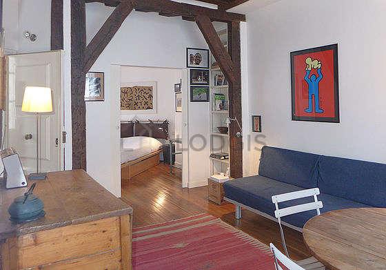 Séjour calme équipé de 1 canapé(s) lit(s) de 130cm, télé, penderie, 1 chaise(s)