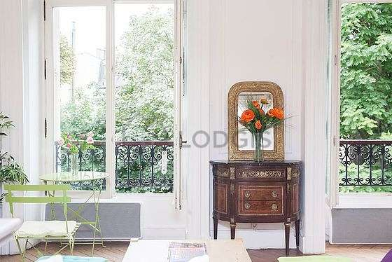 Very quiet living room furnished with 1 sofabed(s) of 140cm, sofa, coffee table, closet