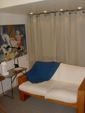 Quiet living room furnished with 1 loft bed(s) of 140cm, tv, hi-fi stereo, 2 armchair(s)