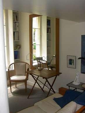 Salon de 18m² avec du bétonau sol