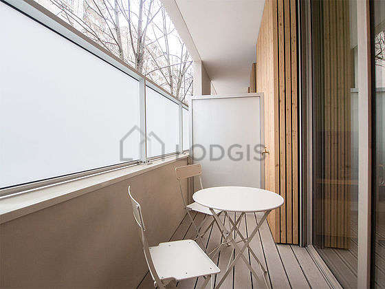 Balcony equipped with dining table, 2 chair(s)