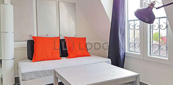 Very quiet living room furnished with 1 sofabed(s) of 90cm, tv, closet, cupboard