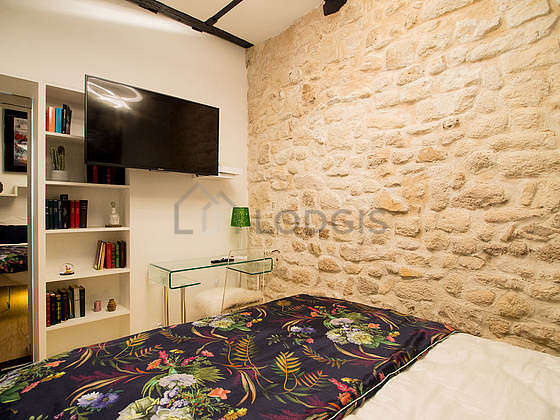 Bedroom equipped with exposed bricks