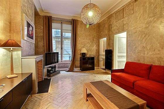 Very quiet living room furnished with 1 sofabed(s) of 0cm, tv, closet, cupboard