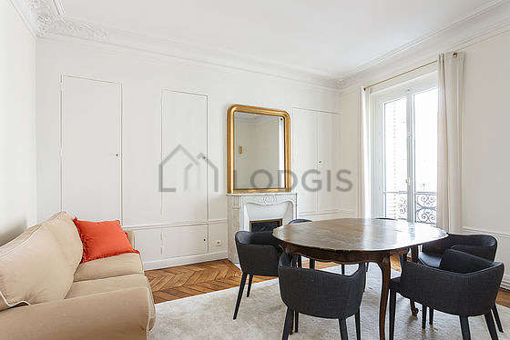 Dining room equipped with dining table, closet