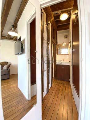 Bright bathroom with woodenfloor