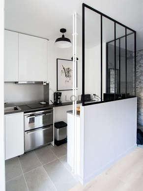 Kitchen equipped with dishwasher, hob, extractor hood, crockery
