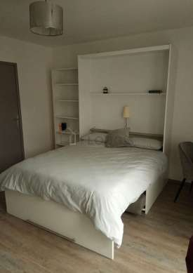 Quiet living room furnished with 1 murphy bed(s) of 140cm, tv, wardrobe, cupboard