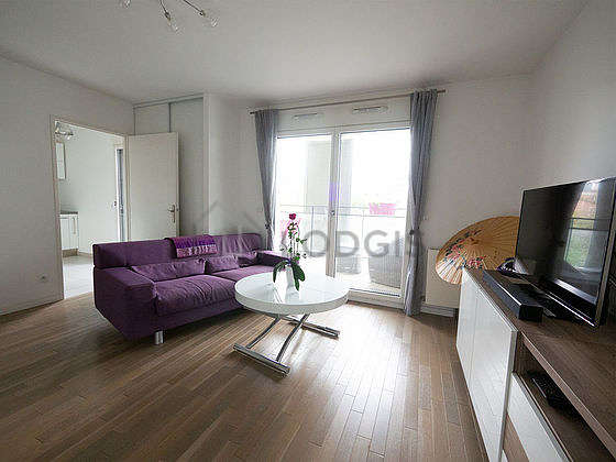 Very quiet living room furnished with 1 murphy bed(s) of 140cm, tv, dvd player, cupboard