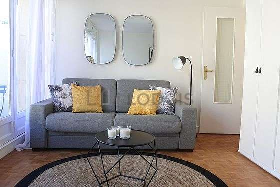 Very quiet living room furnished with 1 sofabed(s) of 150cm, tv, cupboard, 1 chair(s)
